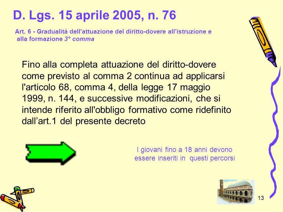 13 D. Lgs. 15 aprile 2005, n. 76 Fino alla completa attuazione del diritto-dovere come previsto al comma 2 continua ad applicarsi l'articolo 68, comma