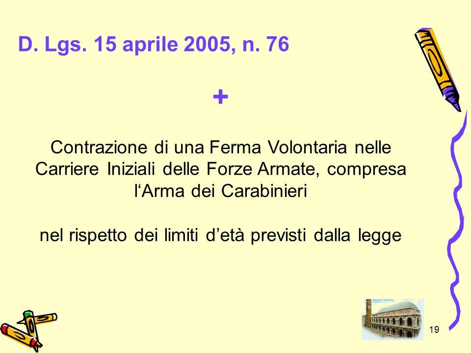 19 D. Lgs. 15 aprile 2005, n. 76 + Contrazione di una Ferma Volontaria nelle Carriere Iniziali delle Forze Armate, compresa lArma dei Carabinieri nel