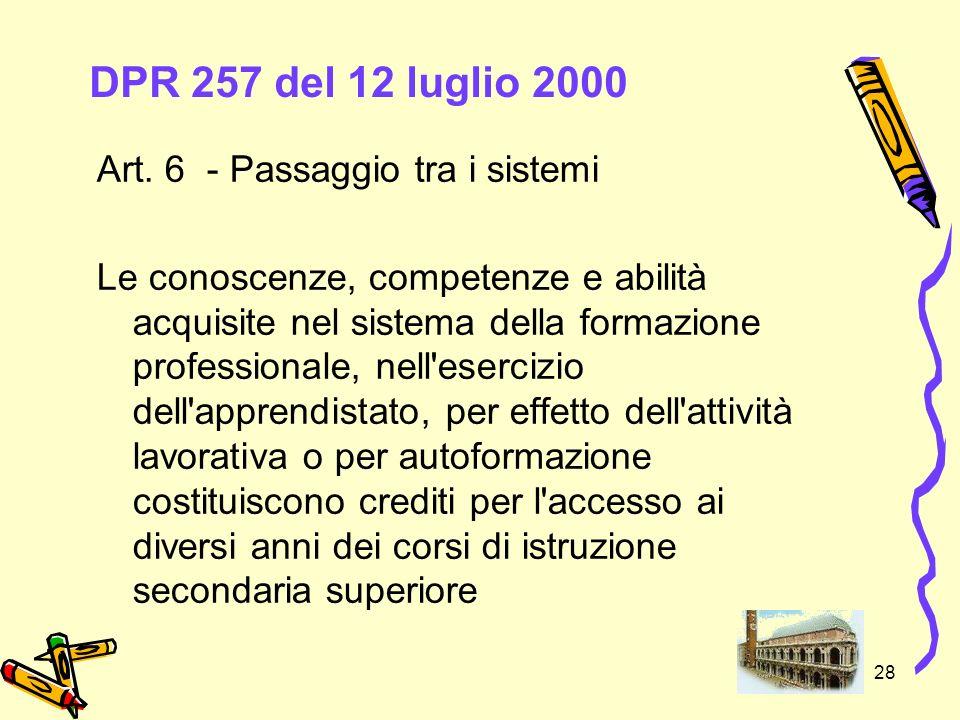 28 DPR 257 del 12 luglio 2000 Art. 6 - Passaggio tra i sistemi Le conoscenze, competenze e abilità acquisite nel sistema della formazione professional