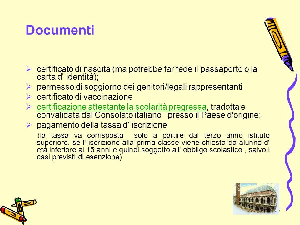 35 Documenti certificato di nascita (ma potrebbe far fede il passaporto o la carta d' identità); permesso di soggiorno dei genitori/legali rappresenta
