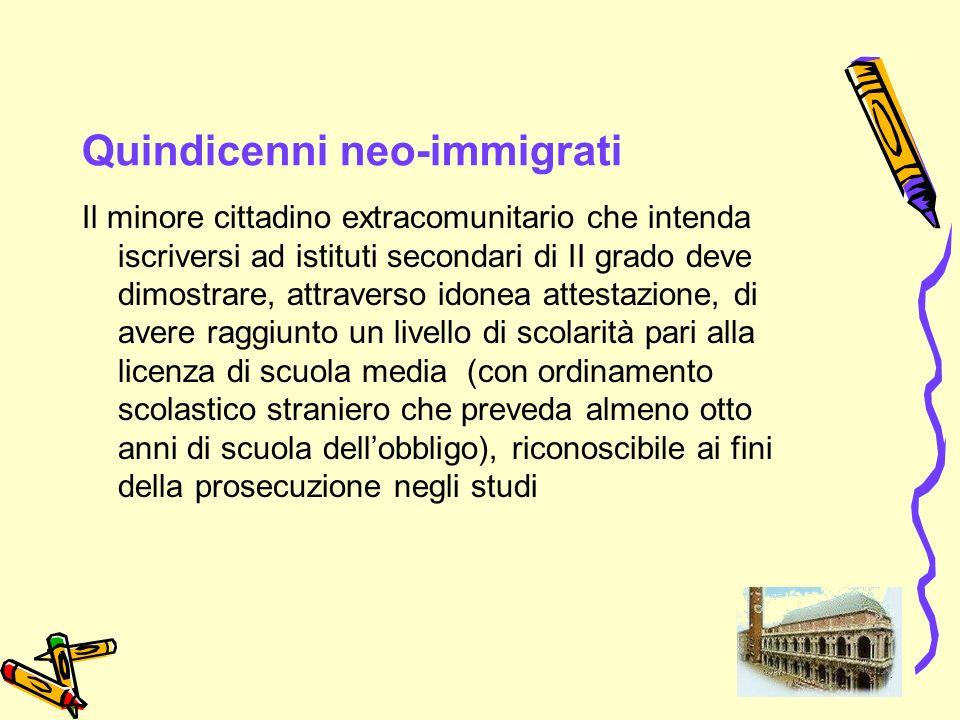 38 Quindicenni neo-immigrati Il minore cittadino extracomunitario che intenda iscriversi ad istituti secondari di II grado deve dimostrare, attraverso