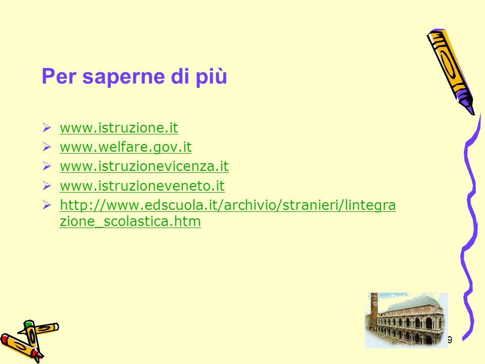 39 Per saperne di più www.istruzione.it www.welfare.gov.it www.istruzionevicenza.it www.istruzioneveneto.it http://www.edscuola.it/archivio/stranieri/