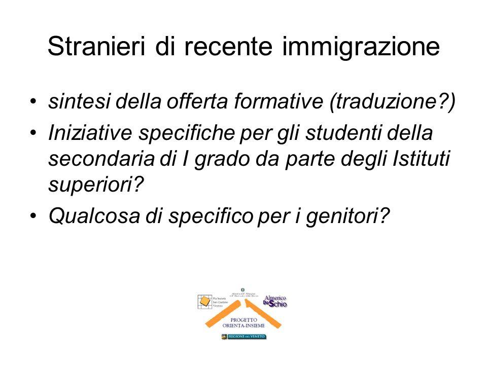 Stranieri di recente immigrazione sintesi della offerta formative (traduzione ) Iniziative specifiche per gli studenti della secondaria di I grado da parte degli Istituti superiori.