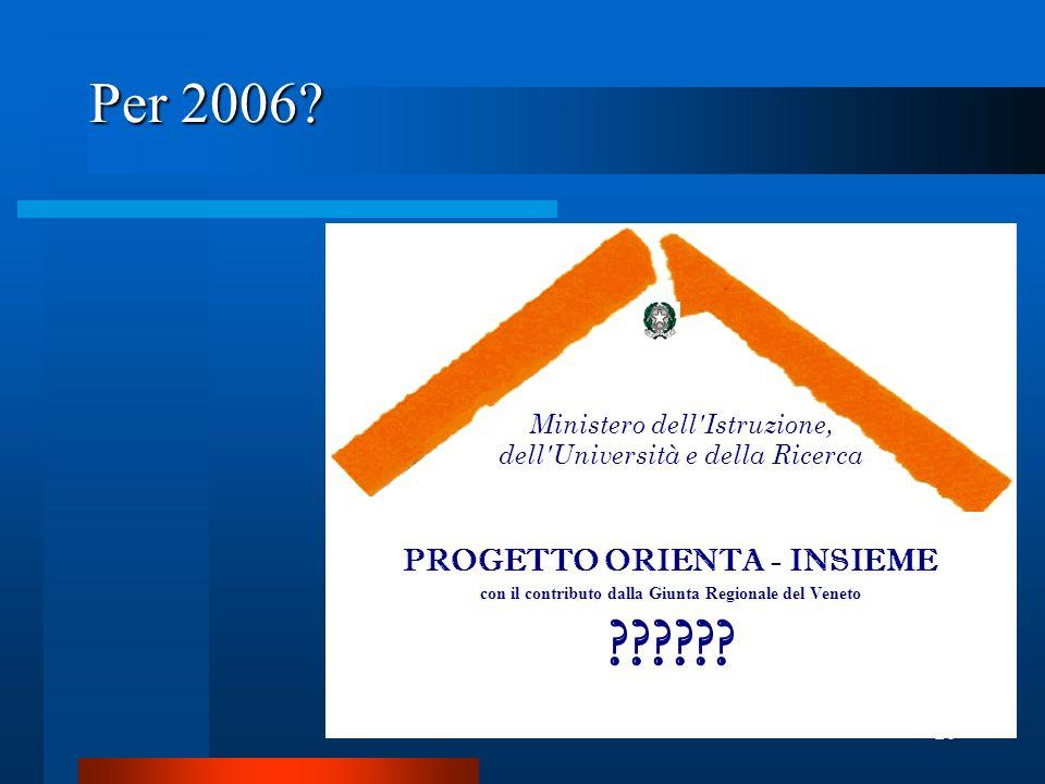 20 Per 2006. PROGETTO ORIENTA - INSIEME con il contributo dalla Giunta Regionale del Veneto .