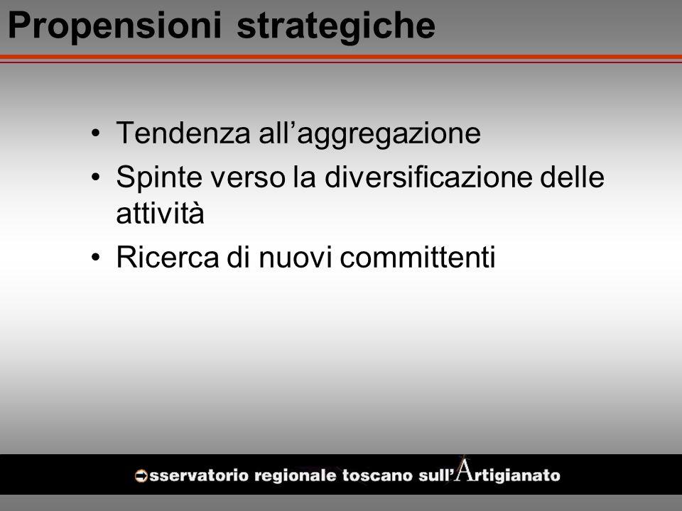 Propensioni strategiche Tendenza allaggregazione Spinte verso la diversificazione delle attività Ricerca di nuovi committenti