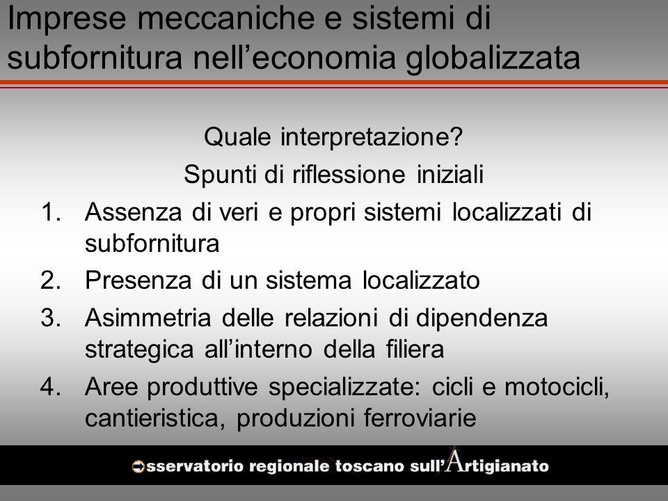 Imprese meccaniche e sistemi di subfornitura nelleconomia globalizzata Quale interpretazione.
