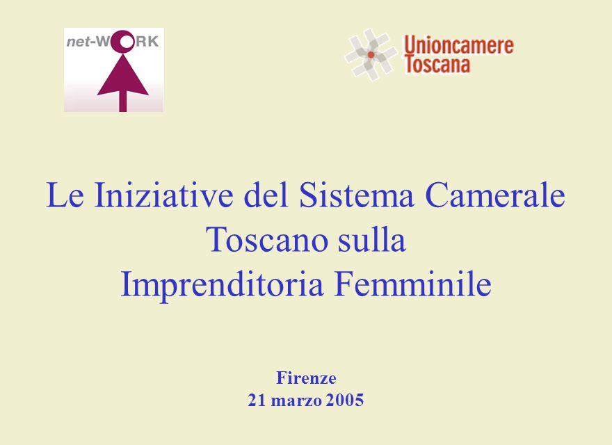 Le Iniziative del Sistema Camerale Toscano sulla Imprenditoria Femminile Firenze 21 marzo 2005