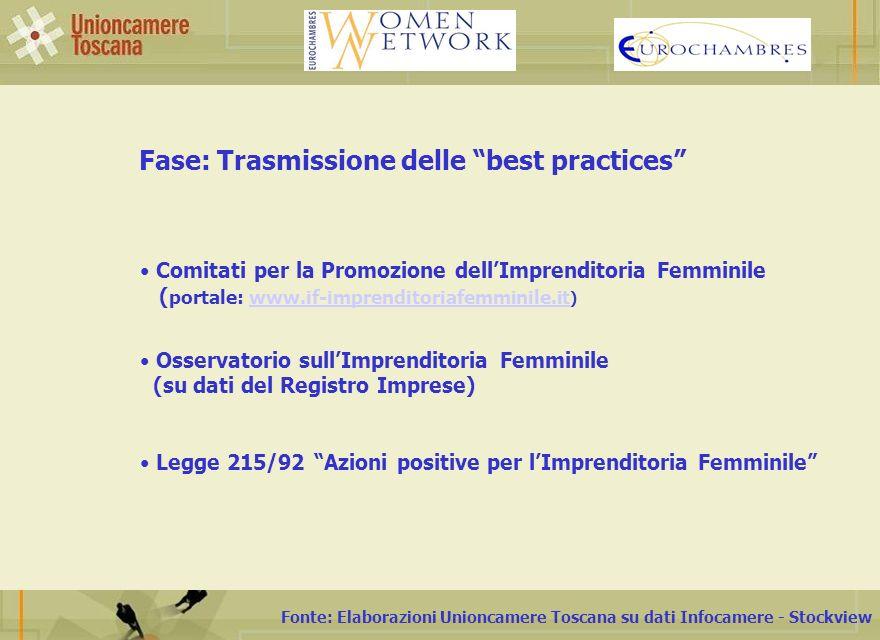 Fonte: Elaborazioni Unioncamere Toscana su dati Infocamere - Stockview Fase: Trasmissione delle best practices Comitati per la Promozione dellImprenditoria Femminile ( portale: www.if-imprenditoriafemminile.it ) www.if-imprenditoriafemminile.it Osservatorio sullImprenditoria Femminile (su dati del Registro Imprese) Legge 215/92 Azioni positive per lImprenditoria Femminile