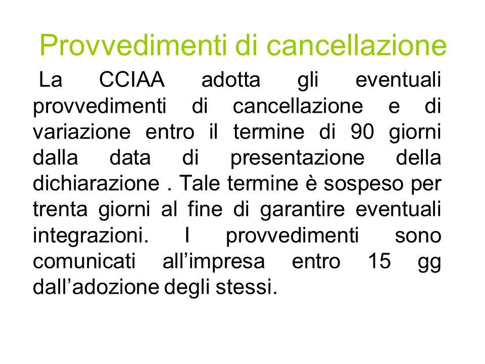 Provvedimenti di cancellazione La CCIAA adotta gli eventuali provvedimenti di cancellazione e di variazione entro il termine di 90 giorni dalla data di presentazione della dichiarazione.