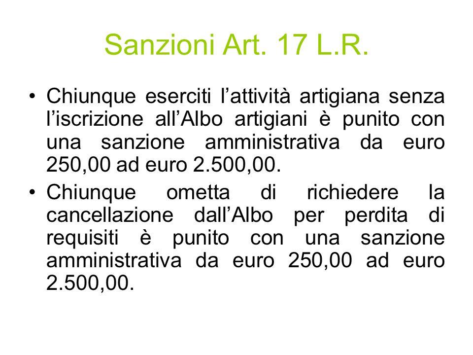 Sanzioni Art. 17 L.R.