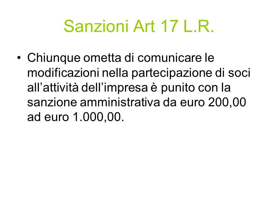 Sanzioni Art 17 L.R.