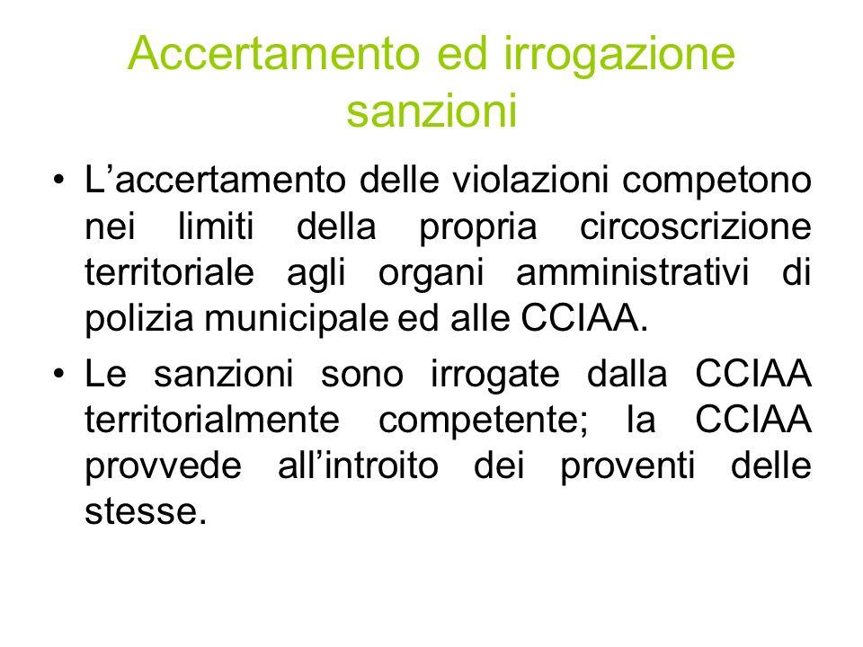 Accertamento ed irrogazione sanzioni Laccertamento delle violazioni competono nei limiti della propria circoscrizione territoriale agli organi amministrativi di polizia municipale ed alle CCIAA.