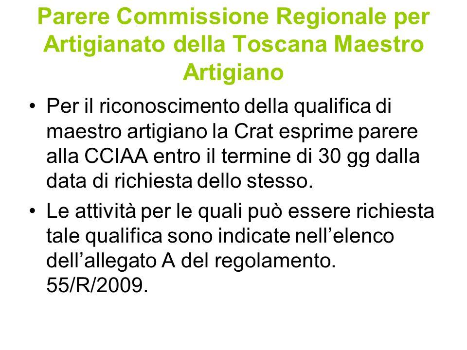 Parere Commissione Regionale per Artigianato della Toscana Maestro Artigiano Per il riconoscimento della qualifica di maestro artigiano la Crat esprime parere alla CCIAA entro il termine di 30 gg dalla data di richiesta dello stesso.