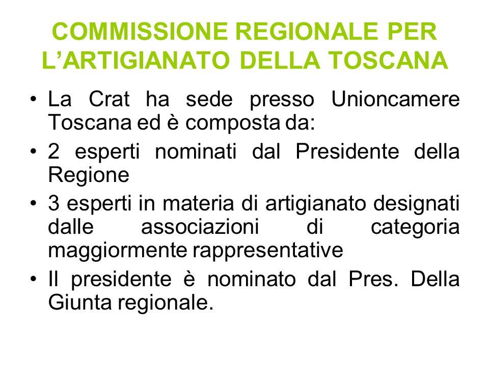 COMMISSIONE REGIONALE PER LARTIGIANATO DELLA TOSCANA La Crat ha sede presso Unioncamere Toscana ed è composta da: 2 esperti nominati dal Presidente della Regione 3 esperti in materia di artigianato designati dalle associazioni di categoria maggiormente rappresentative Il presidente è nominato dal Pres.