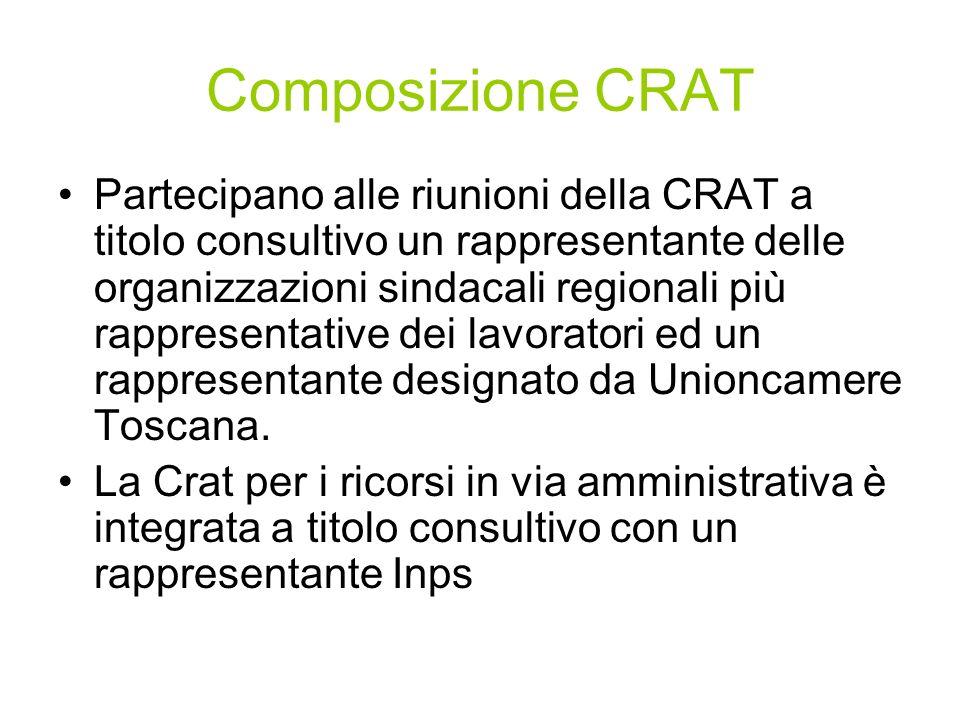 Composizione CRAT Partecipano alle riunioni della CRAT a titolo consultivo un rappresentante delle organizzazioni sindacali regionali più rappresentative dei lavoratori ed un rappresentante designato da Unioncamere Toscana.