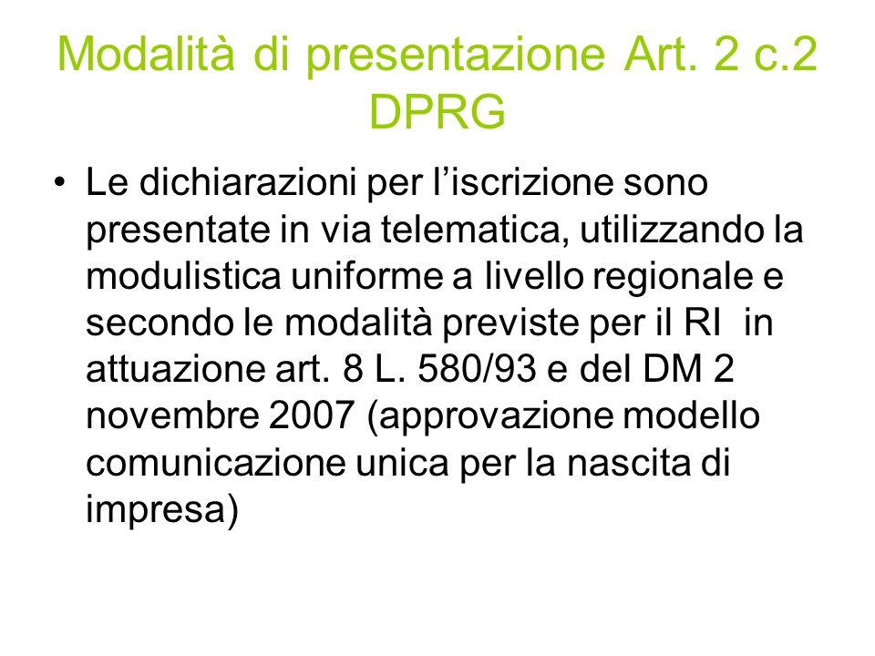 Modalità di presentazione Art.