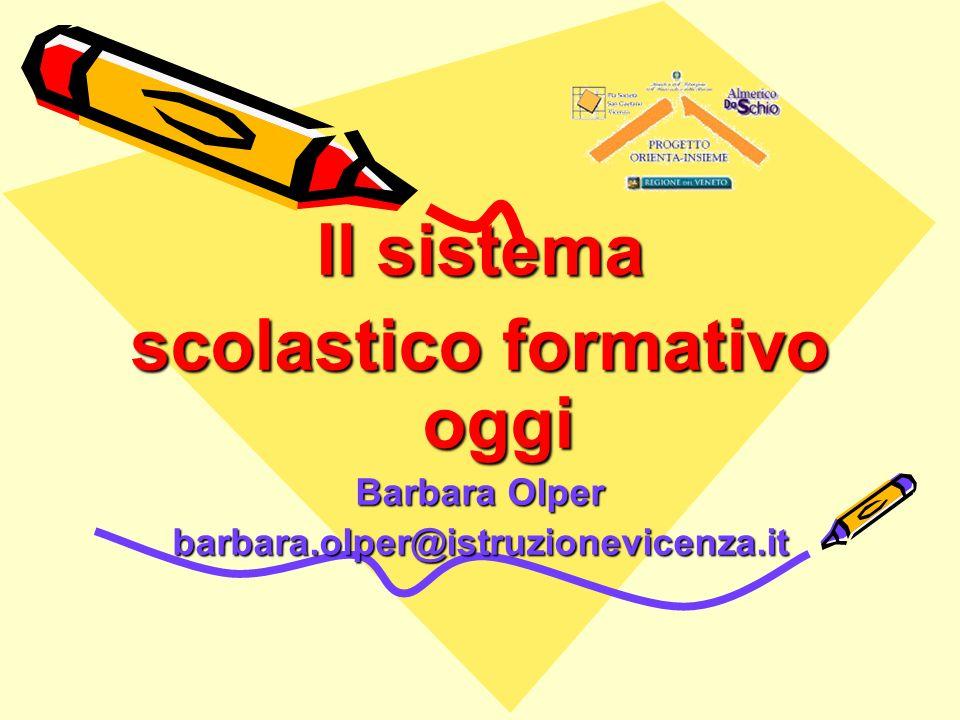 Il sistema scolastico formativo oggi Barbara Olper barbara.olper@istruzionevicenza.it
