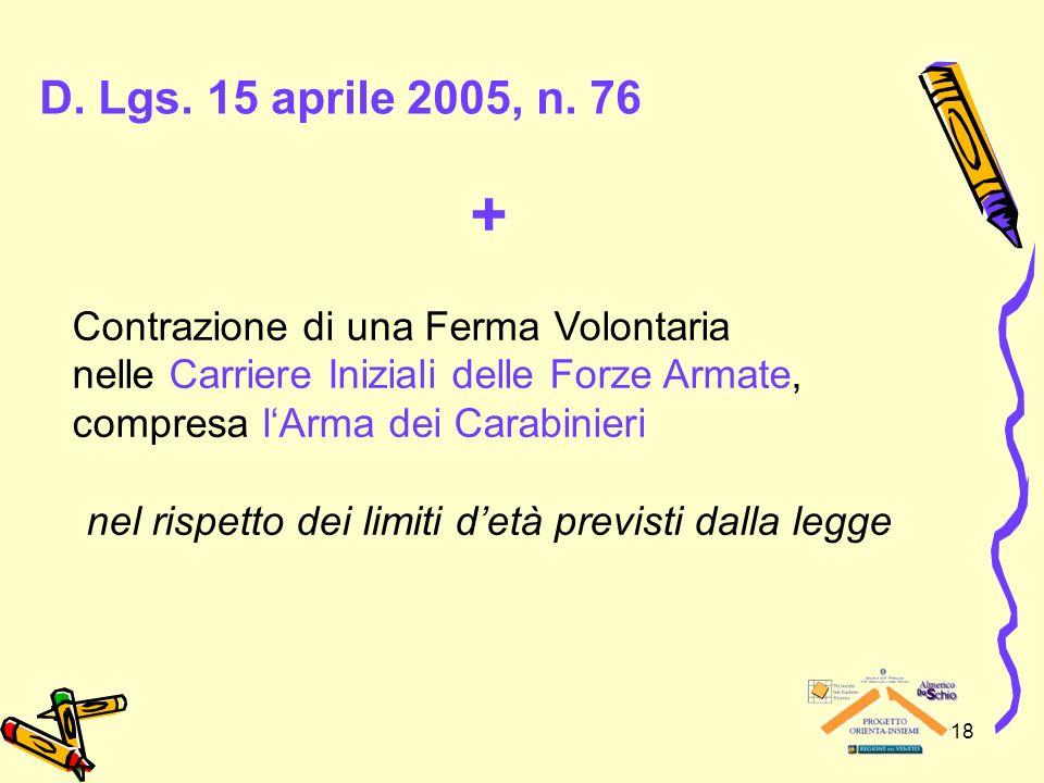 18 D. Lgs. 15 aprile 2005, n. 76 + Contrazione di una Ferma Volontaria nelle Carriere Iniziali delle Forze Armate, compresa lArma dei Carabinieri nel