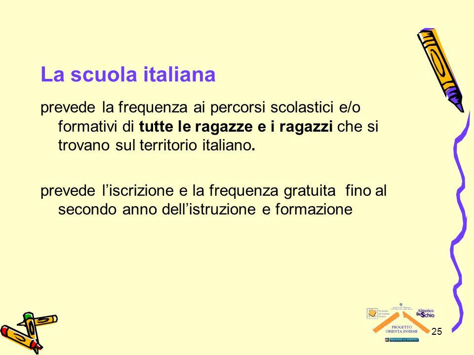 25 La scuola italiana prevede la frequenza ai percorsi scolastici e/o formativi di tutte le ragazze e i ragazzi che si trovano sul territorio italiano