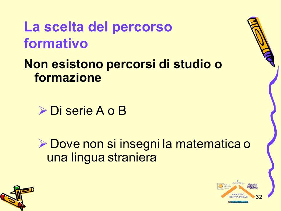 32 La scelta del percorso formativo Non esistono percorsi di studio o formazione Di serie A o B Dove non si insegni la matematica o una lingua stranie