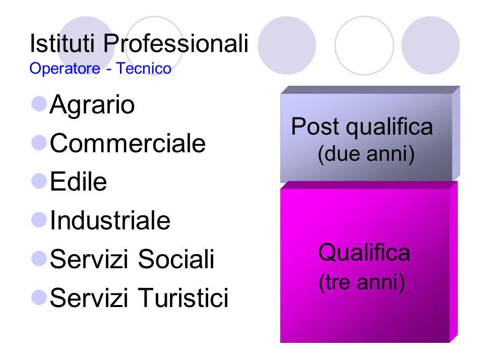 Istituti Professionali Operatore - Tecnico Agrario Commerciale Edile Industriale Servizi Sociali Servizi Turistici Post qualifica (due anni) Qualifica (tre anni)