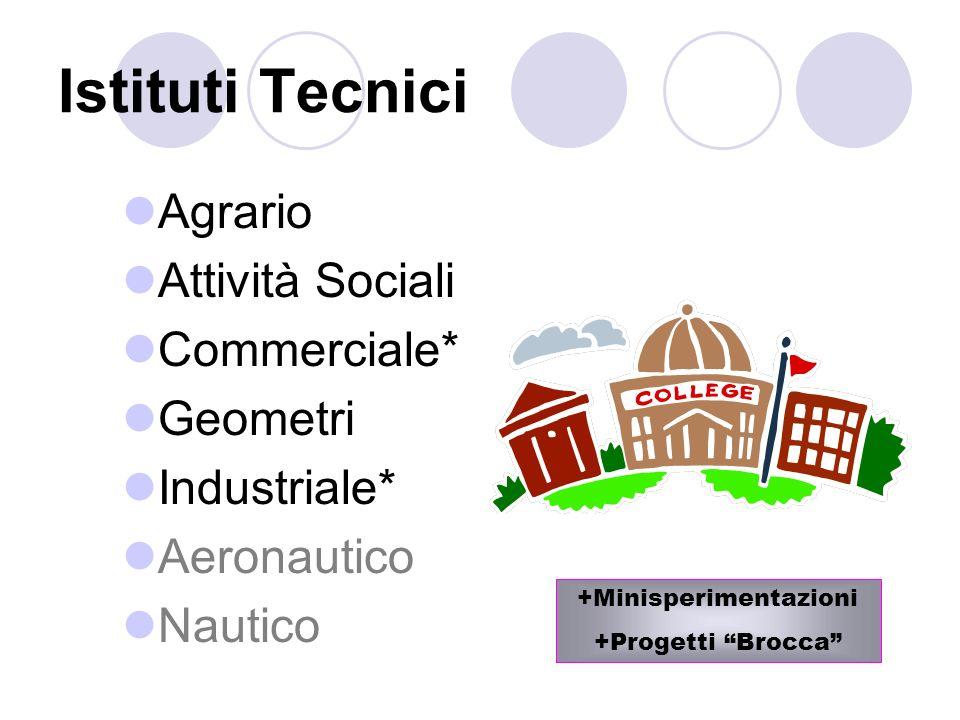 Istituti Tecnici Agrario Attività Sociali Commerciale* Geometri Industriale* Aeronautico Nautico +Minisperimentazioni +Progetti Brocca