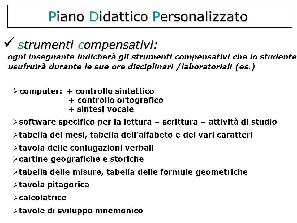 Piano Didattico Personalizzato strumenti compensativi: strumenti compensativi: ogni insegnante indicherà gli strumenti compensativi che lo studente us