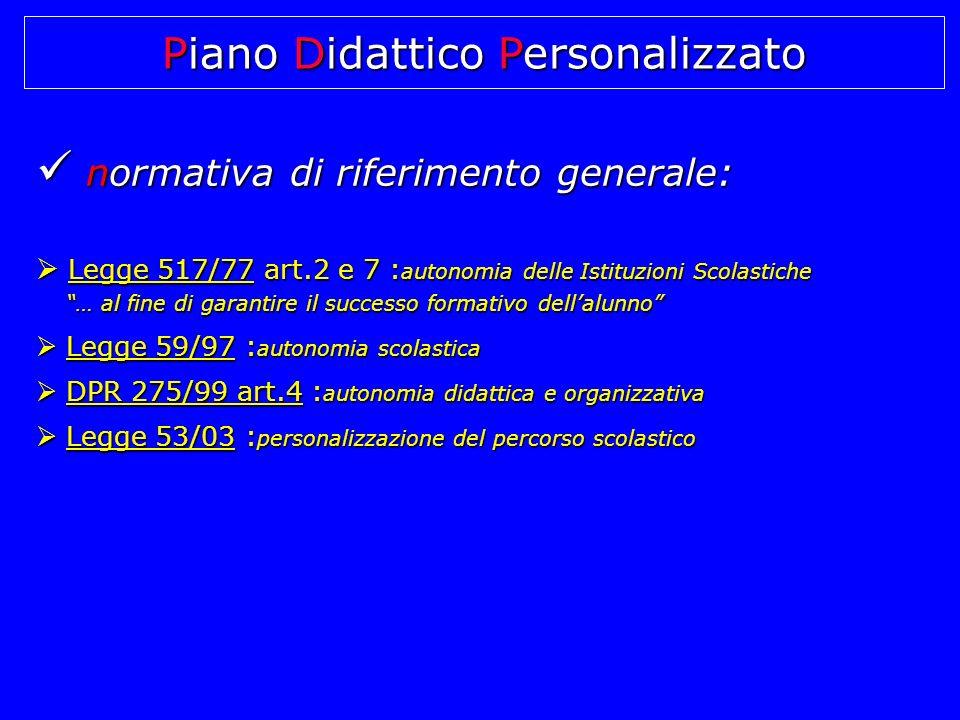 normativa di riferimento generale: normativa di riferimento generale: L Legge 517/77 art.2 e 7 :autonomia delle Istituzioni Scolastiche … al fine di g