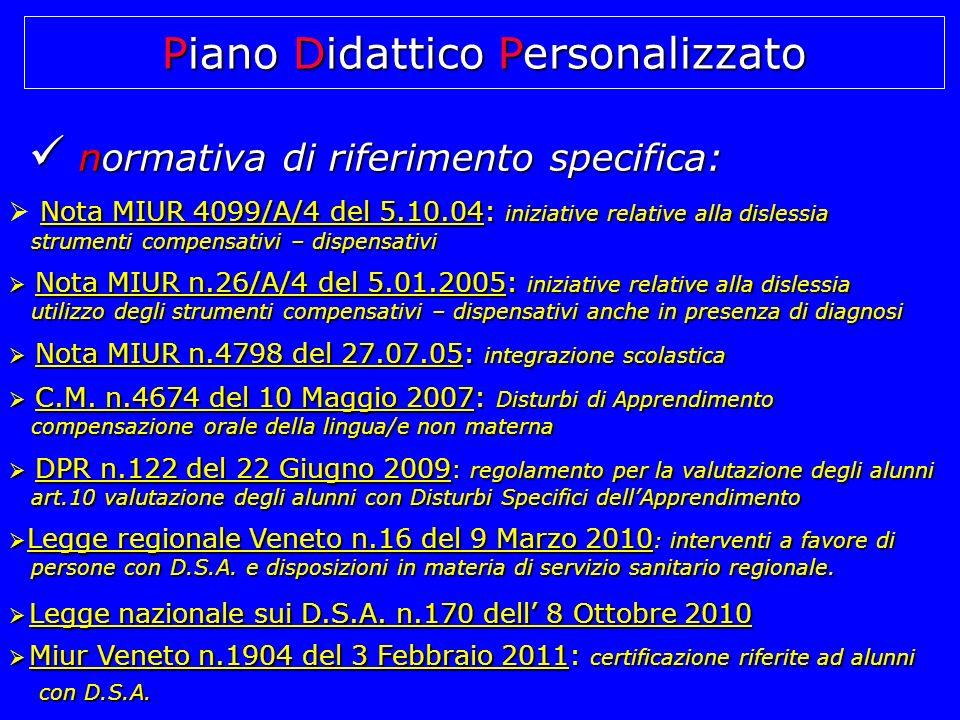 normativa di riferimento specifica: normativa di riferimento specifica: Nota MIUR 4099/A/4 del 5.10.04: iniziative relative alla dislessia strumenti c