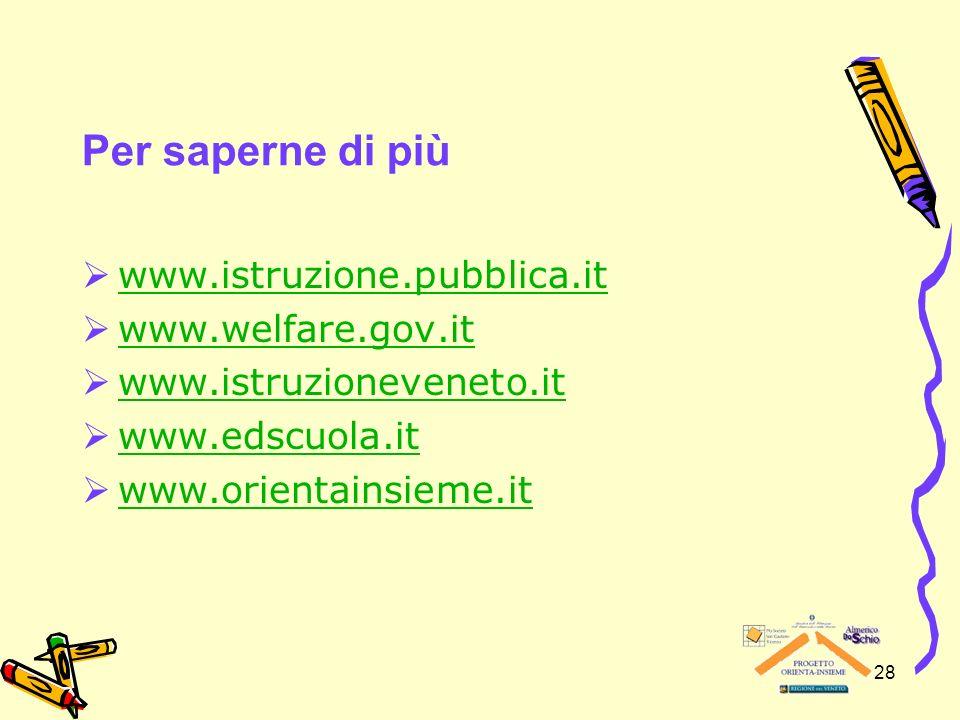 28 Per saperne di più www.istruzione.pubblica.it www.welfare.gov.it www.istruzioneveneto.it www.edscuola.it www.orientainsieme.it