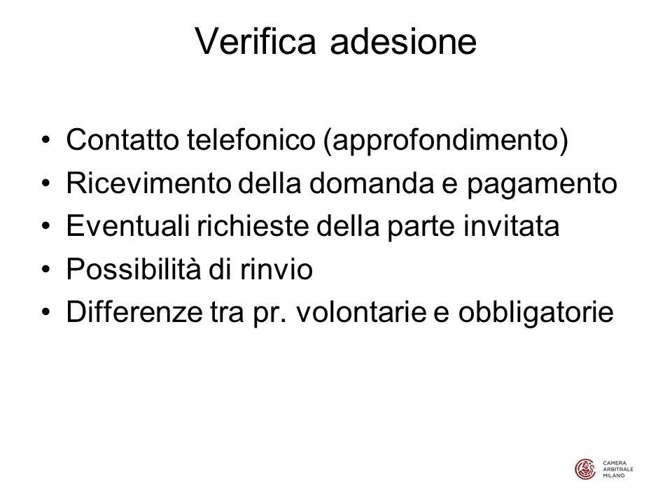 Verifica adesione Contatto telefonico (approfondimento) Ricevimento della domanda e pagamento Eventuali richieste della parte invitata Possibilità di rinvio Differenze tra pr.