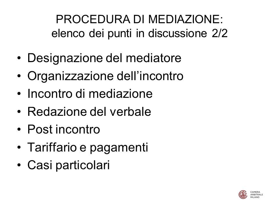 PROCEDURA DI MEDIAZIONE: elenco dei punti in discussione 2/2 Designazione del mediatore Organizzazione dellincontro Incontro di mediazione Redazione del verbale Post incontro Tariffario e pagamenti Casi particolari