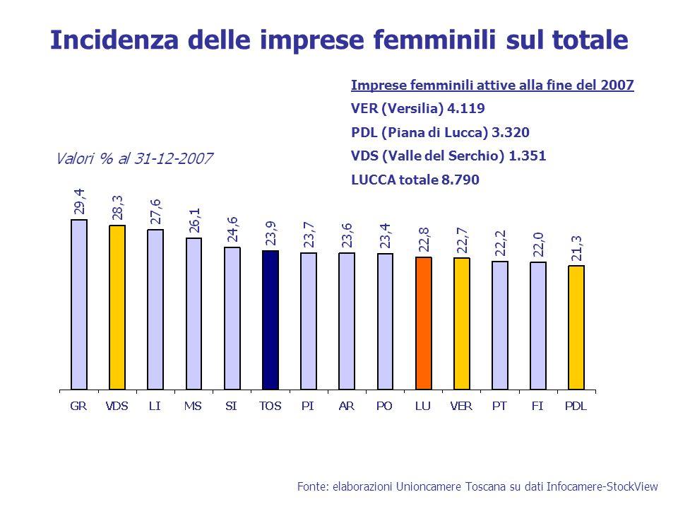 Incidenza delle imprese femminili sul totale Fonte: elaborazioni Unioncamere Toscana su dati Infocamere-StockView Imprese femminili attive alla fine del 2007 VER (Versilia) 4.119 PDL (Piana di Lucca) 3.320 VDS (Valle del Serchio) 1.351 LUCCA totale 8.790