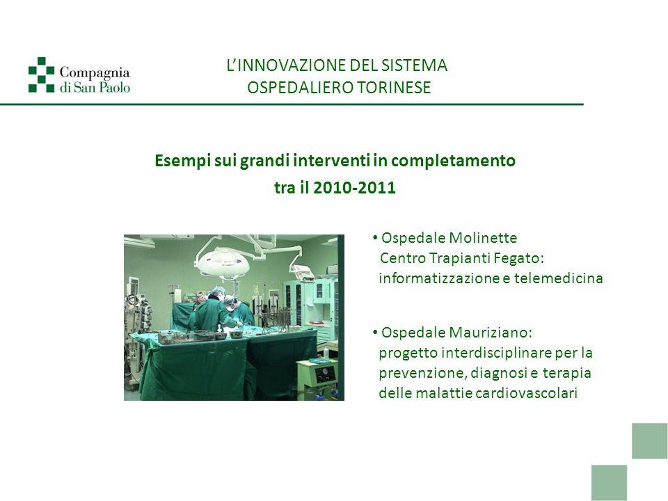 Esempi sui grandi interventi in completamento tra il 2010-2011 LINNOVAZIONE DEL SISTEMA OSPEDALIERO TORINESE Ospedale Molinette Centro Trapianti Fegat