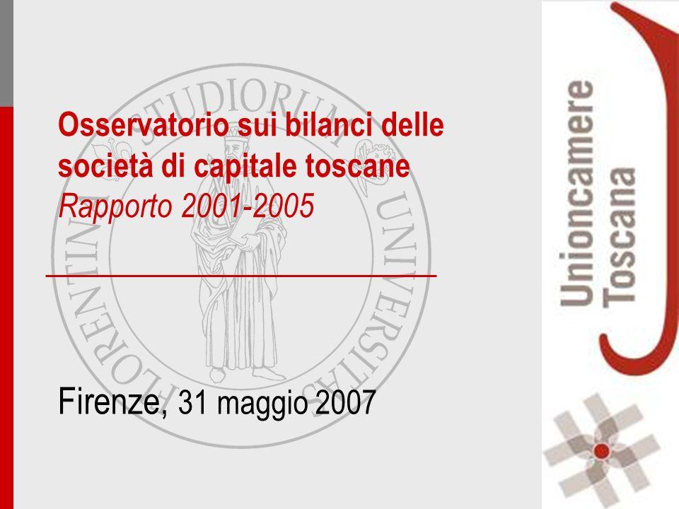 Firenze, 31 maggio 2007 Osservatorio sui bilanci delle società di capitale toscane Rapporto 2001-2005