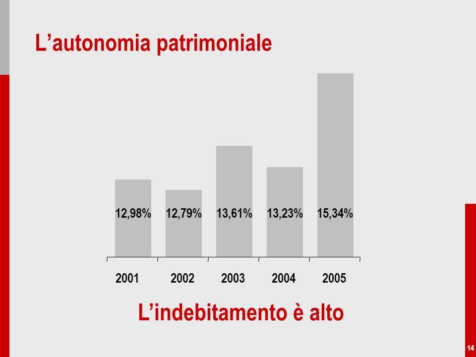 14 Lautonomia patrimoniale Lindebitamento è alto 12,98%12,79%13,61%13,23%15,34% 20022003200420052001