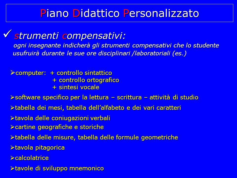 strumenti compensativi: strumenti compensativi: ogni insegnante indicherà gli strumenti compensativi che lo studente ogni insegnante indicherà gli str