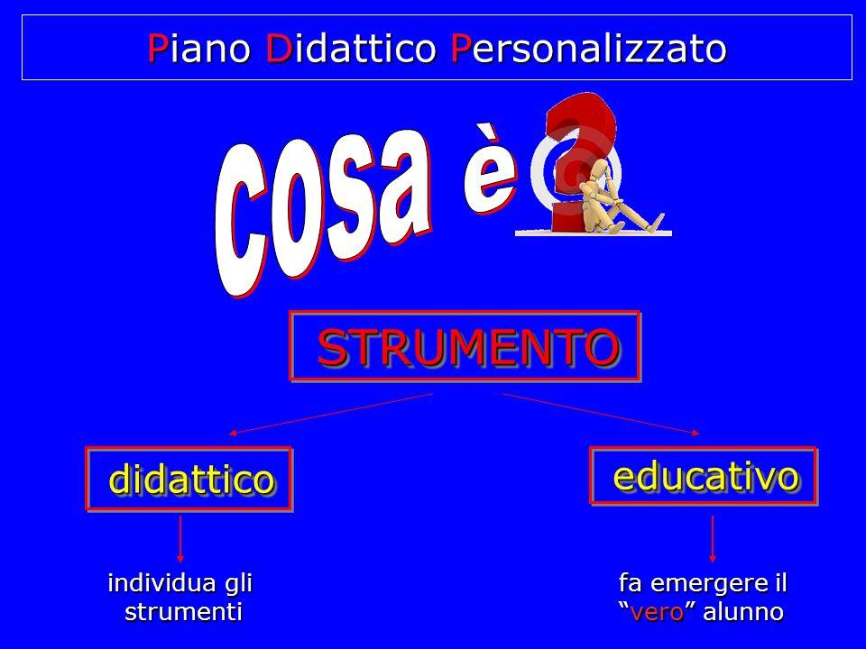 Piano Didattico Personalizzato STRUMENTO STRUMENTO STRUMENTO educativo educativo didattico didattico didattico individua gli strumenti fa emergere il