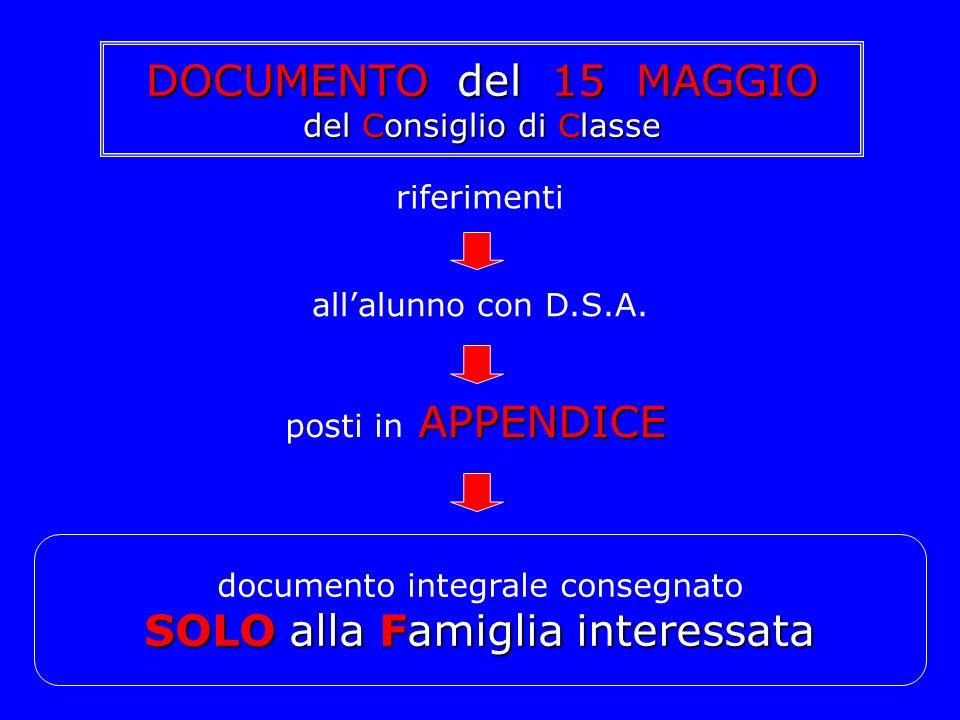riferimenti allalunno con D.S.A. APPENDICE posti in APPENDICE documento integrale consegnato SOLOalla Famiglia interessata SOLO alla Famiglia interess