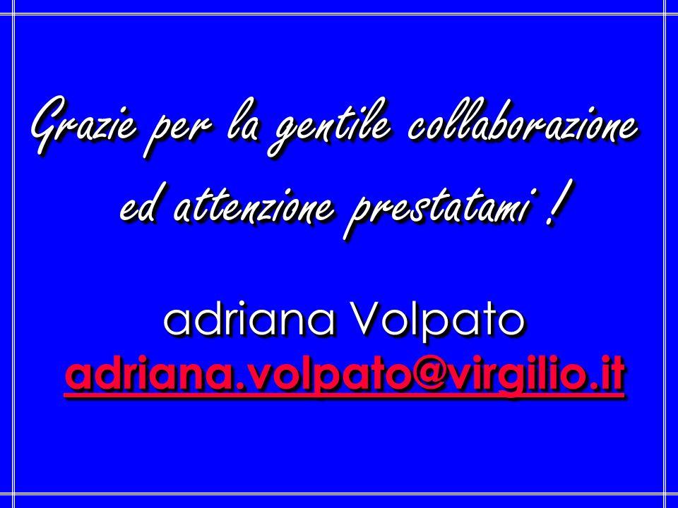 Grazie per la gentile collaborazione ed attenzione prestatami ! adriana Volpato adriana.volpato@virgilio.it Grazie per la gentile collaborazione ed at