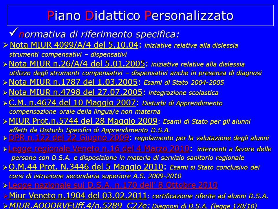 normativa di riferimento specifica: normativa di riferimento specifica: N Nota MIUR 4099/A/4 del 5.10.04: iniziative relative alla dislessia strumenti