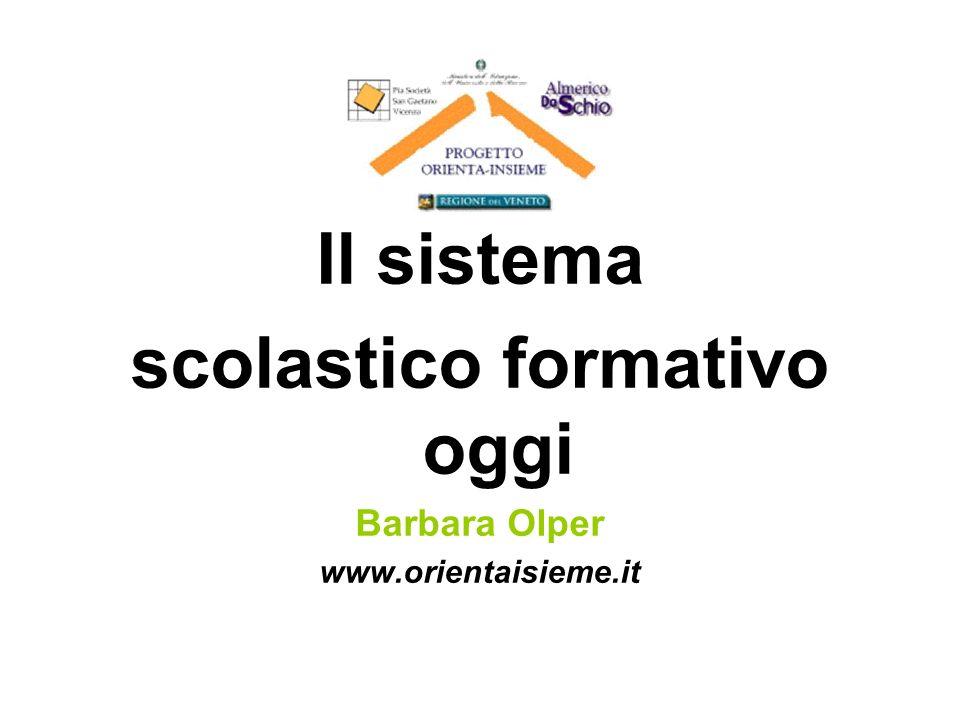Il sistema scolastico formativo oggi Barbara Olper www.orientaisieme.it