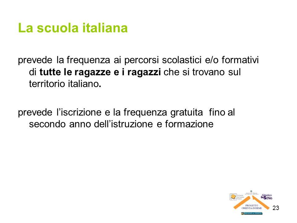 23 La scuola italiana prevede la frequenza ai percorsi scolastici e/o formativi di tutte le ragazze e i ragazzi che si trovano sul territorio italiano
