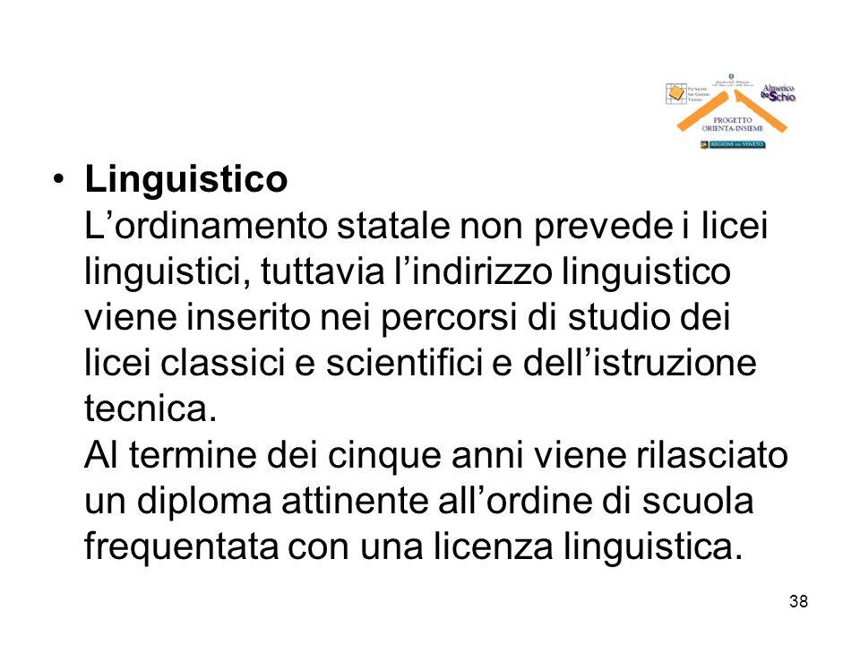 38 Linguistico Lordinamento statale non prevede i licei linguistici, tuttavia lindirizzo linguistico viene inserito nei percorsi di studio dei licei c