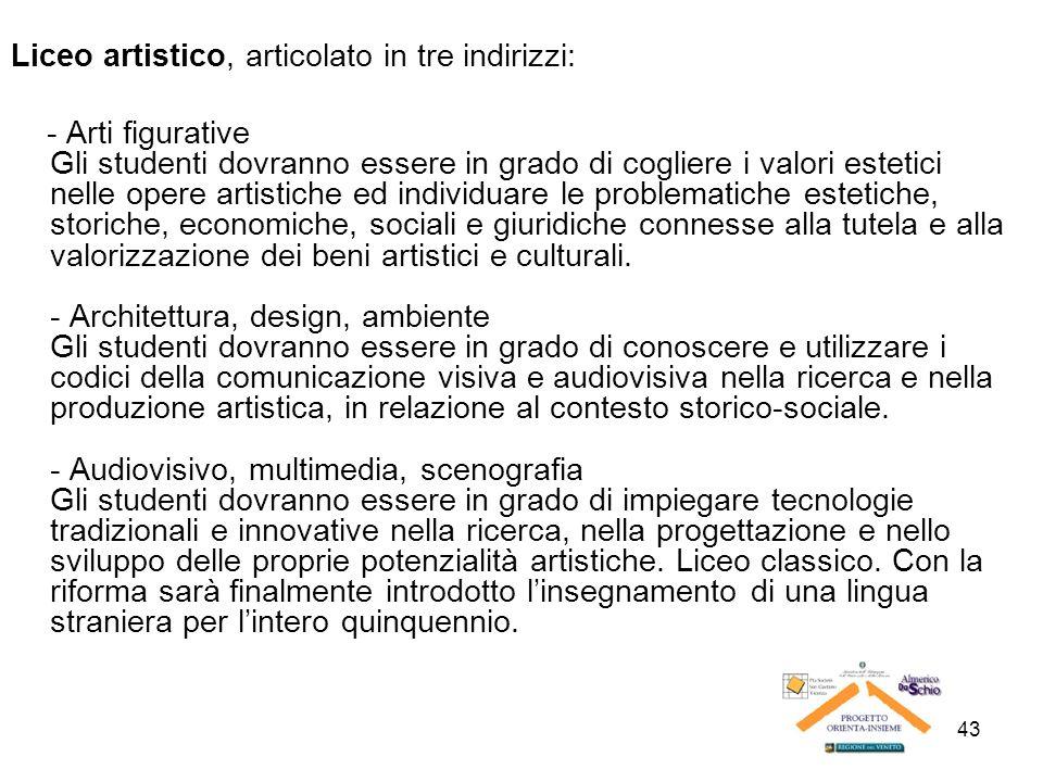 43 Liceo artistico, articolato in tre indirizzi: - Arti figurative Gli studenti dovranno essere in grado di cogliere i valori estetici nelle opere art