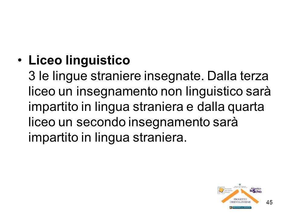 45 Liceo linguistico 3 le lingue straniere insegnate. Dalla terza liceo un insegnamento non linguistico sarà impartito in lingua straniera e dalla qua