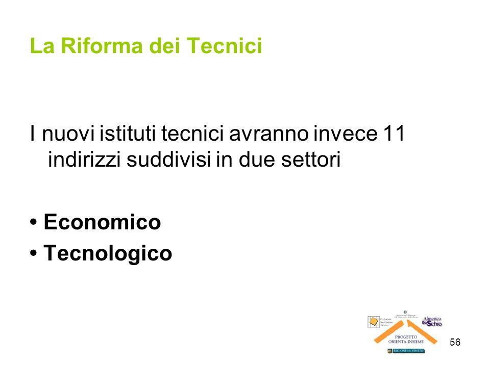 56 La Riforma dei Tecnici I nuovi istituti tecnici avranno invece 11 indirizzi suddivisi in due settori Economico Tecnologico