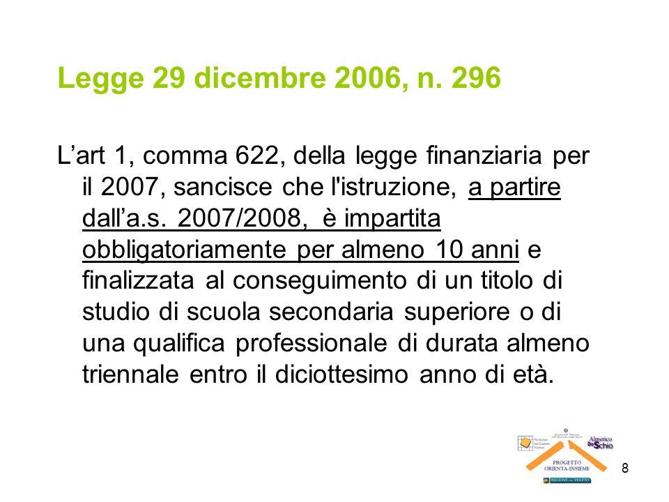 8 Legge 29 dicembre 2006, n. 296 Lart 1, comma 622, della legge finanziaria per il 2007, sancisce che l'istruzione, a partire dalla.s. 2007/2008, è im