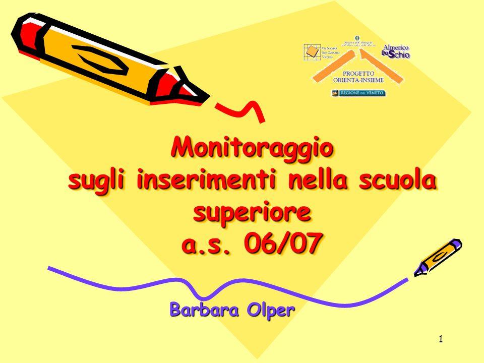 1 Monitoraggio sugli inserimenti nella scuola superiore a.s. 06/07 Barbara Olper