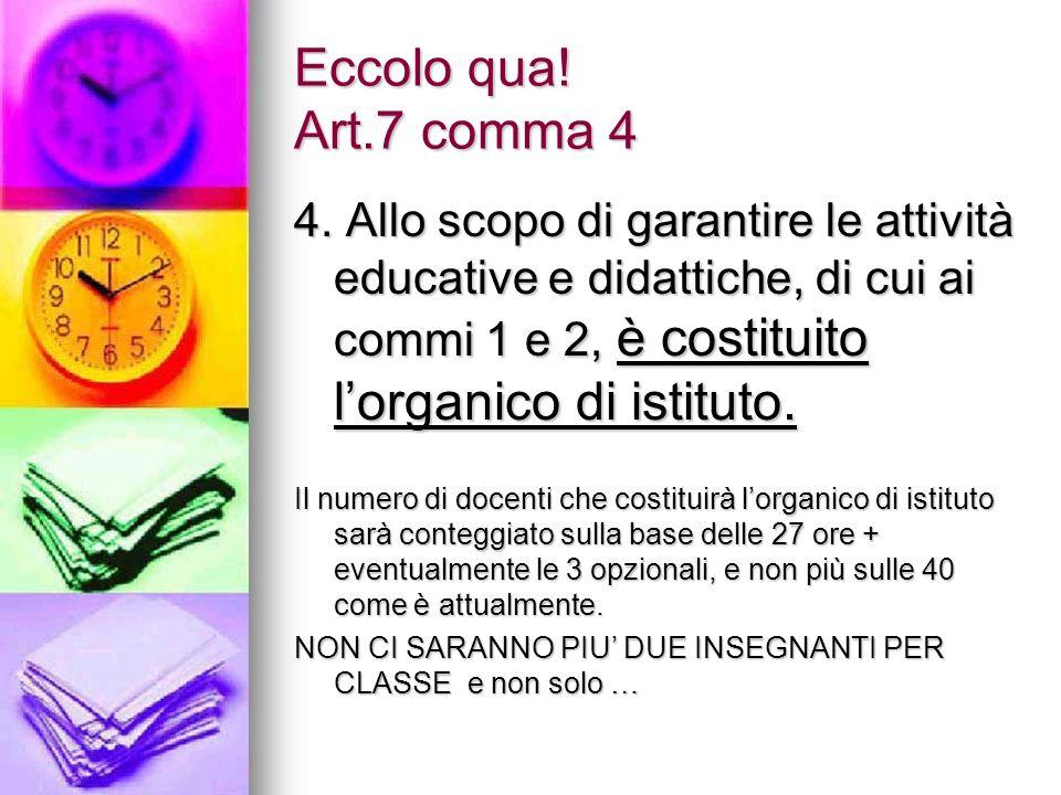 Eccolo qua! Art.7 comma 4 4. Allo scopo di garantire le attività educative e didattiche, di cui ai commi 1 e 2, è costituito lorganico di istituto. Il